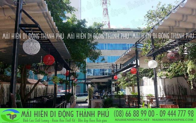 mai bat xep 5 Mái xếp quán cafe giá rẻ đẹp do mái hiên Thành Phú thi công