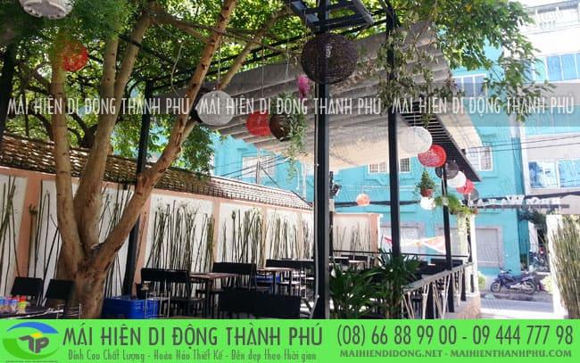mai bat xep 6 Mái xếp quán cafe giá rẻ đẹp do mái hiên Thành Phú thi công