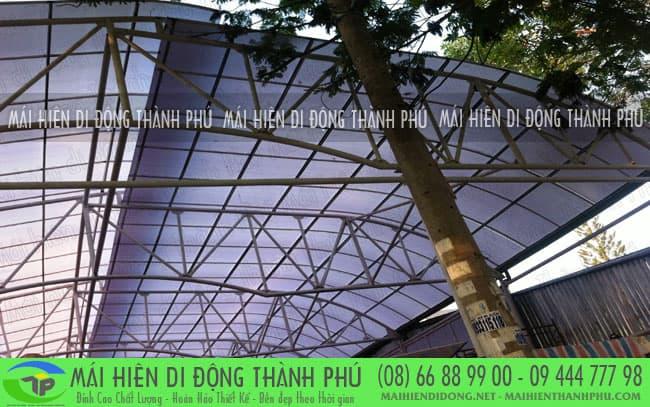 mai vom san thuong 2 Mái vòm cố định và mái che bạt thông dụng