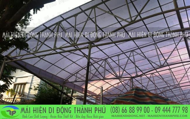 mai vom san thuong 3 Mái vòm cố định và mái che bạt thông dụng