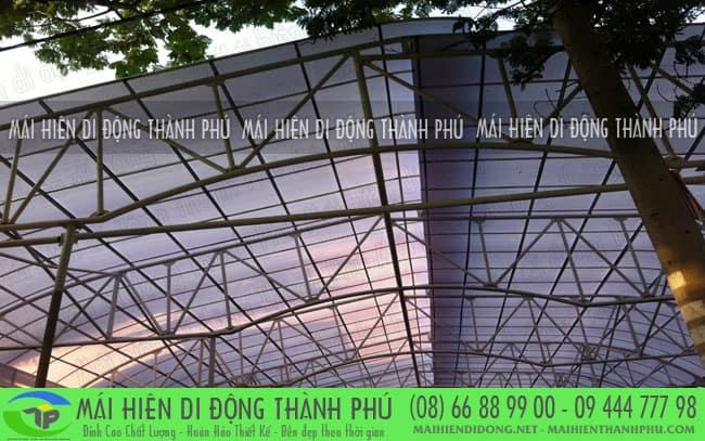 mai vom san thuong 4 Mái vòm cố định và mái che bạt thông dụng